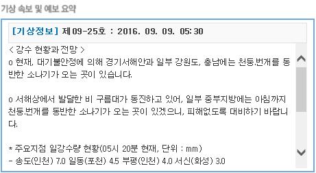 거제도날씨정보 2016년 09월 09일