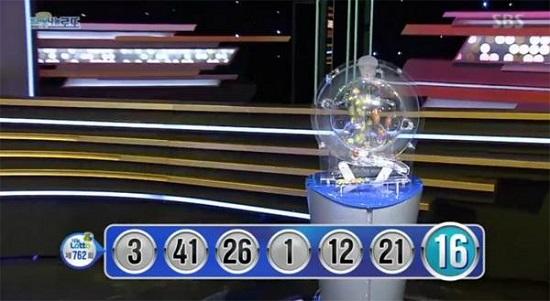제762회 로또당첨번호조회, 1등 당첨번호 '3, 41, 26, 1, 12, 21'
