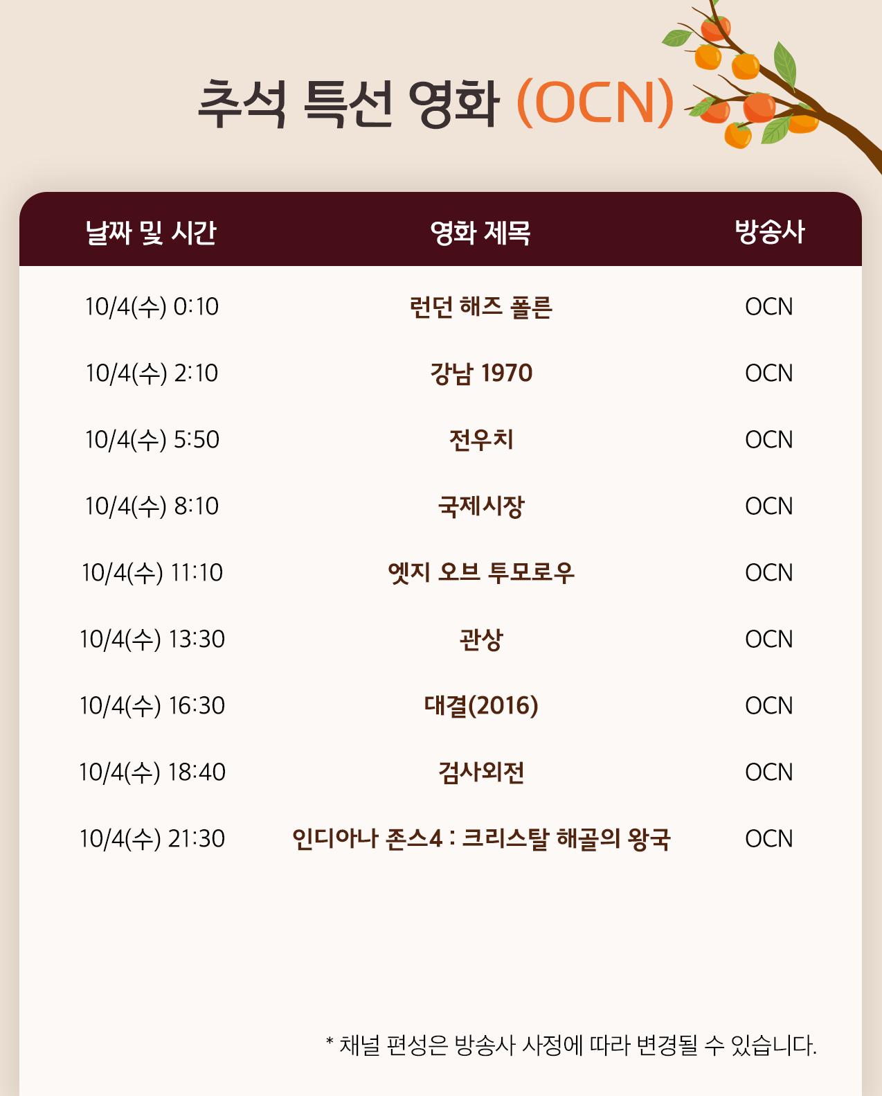 방콕러를 위한 추석 연휴 영화 편성표 정리!