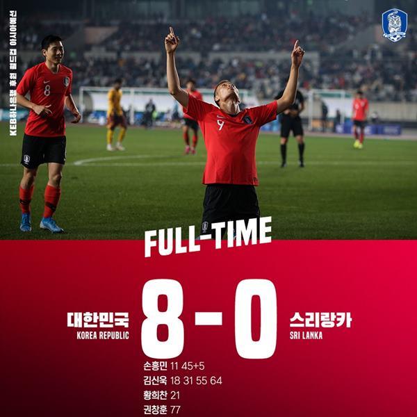 [A매치] '김신욱 4골+손흥민 2골' 한국, 스리랑카 8-0 대파